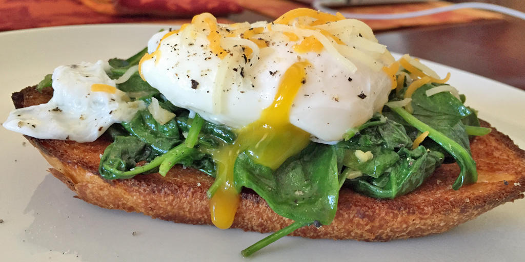 poached egg spinach grilled bread