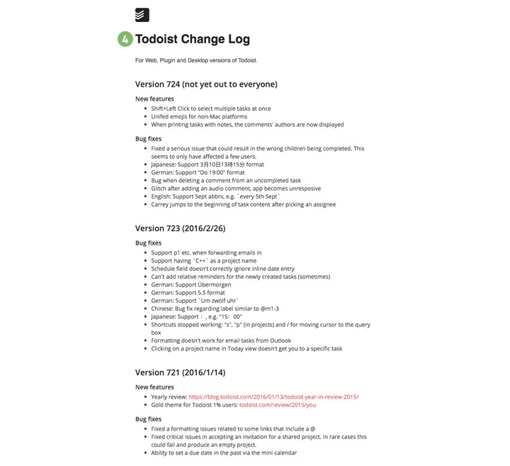 todoist-change-log